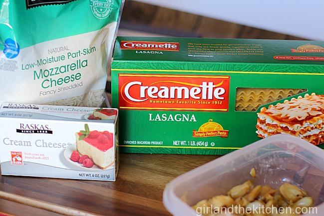 Roasted Creamy Garlic Lasagna Roll-Ups