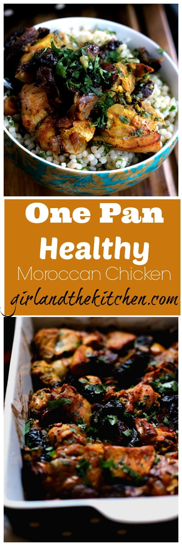 My one pan Moroccan Chicken recipe is super healthy and filled with the flavors of the Middle East. Best of all it's super easy, quick and freezer friendly.