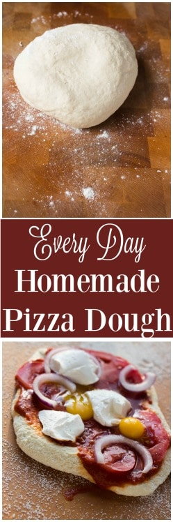 A simple every day homemade pizza dough that comes together with just a few ingredients and is ready in an hour! Plus as an added bonus, this dough freezes perfectly!!!