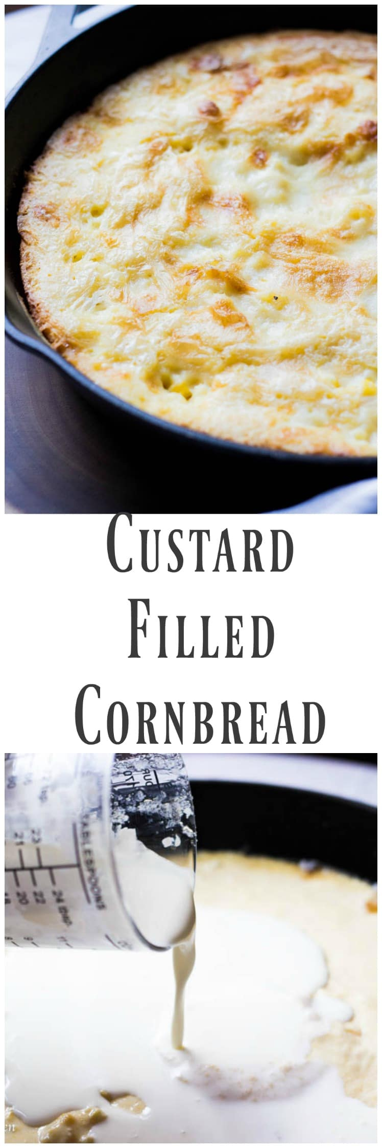 This Custard Filled Cornbread is the king of all cornbread. It is deliciously sweet and incredibly tender and has a creamy custard center that will blow every other corn bread out of the water.