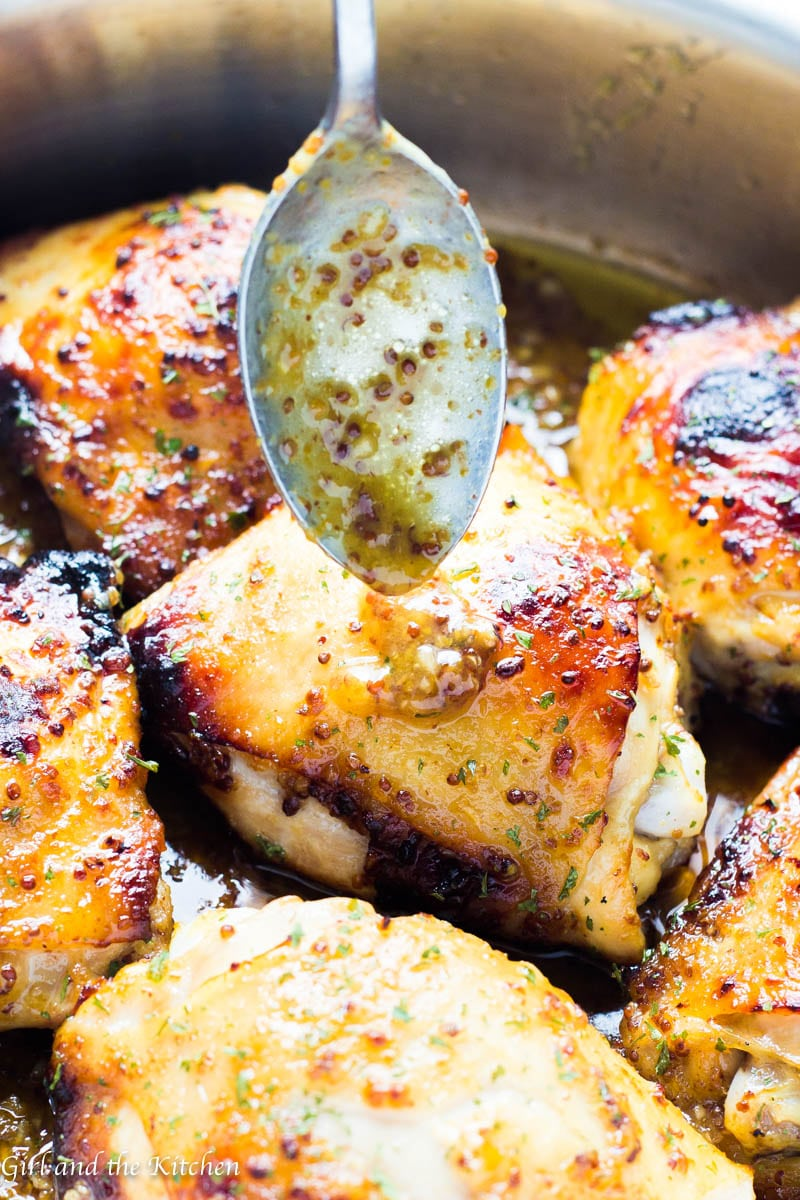 This super tender and flavorful baked honey mustard chicken is made with my signature Restaurant Style Honey Mustard Dressing and nothing else except a hot oven! The dressing makes for an incredible sauce that glazes over the chicken perfectly!