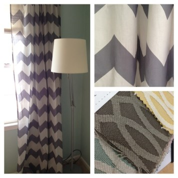 Chevron curtains and glider chair sample