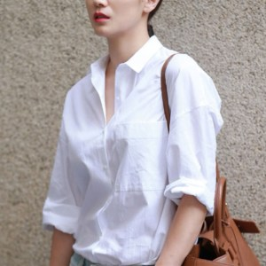 Basic White Full-Sleeve Shirt worn by a model with a shoulder bag
