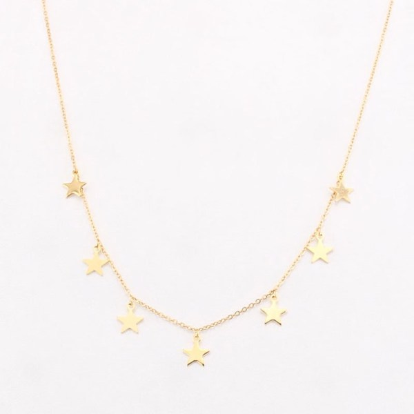 Star Gold Necklace displayed with white background.