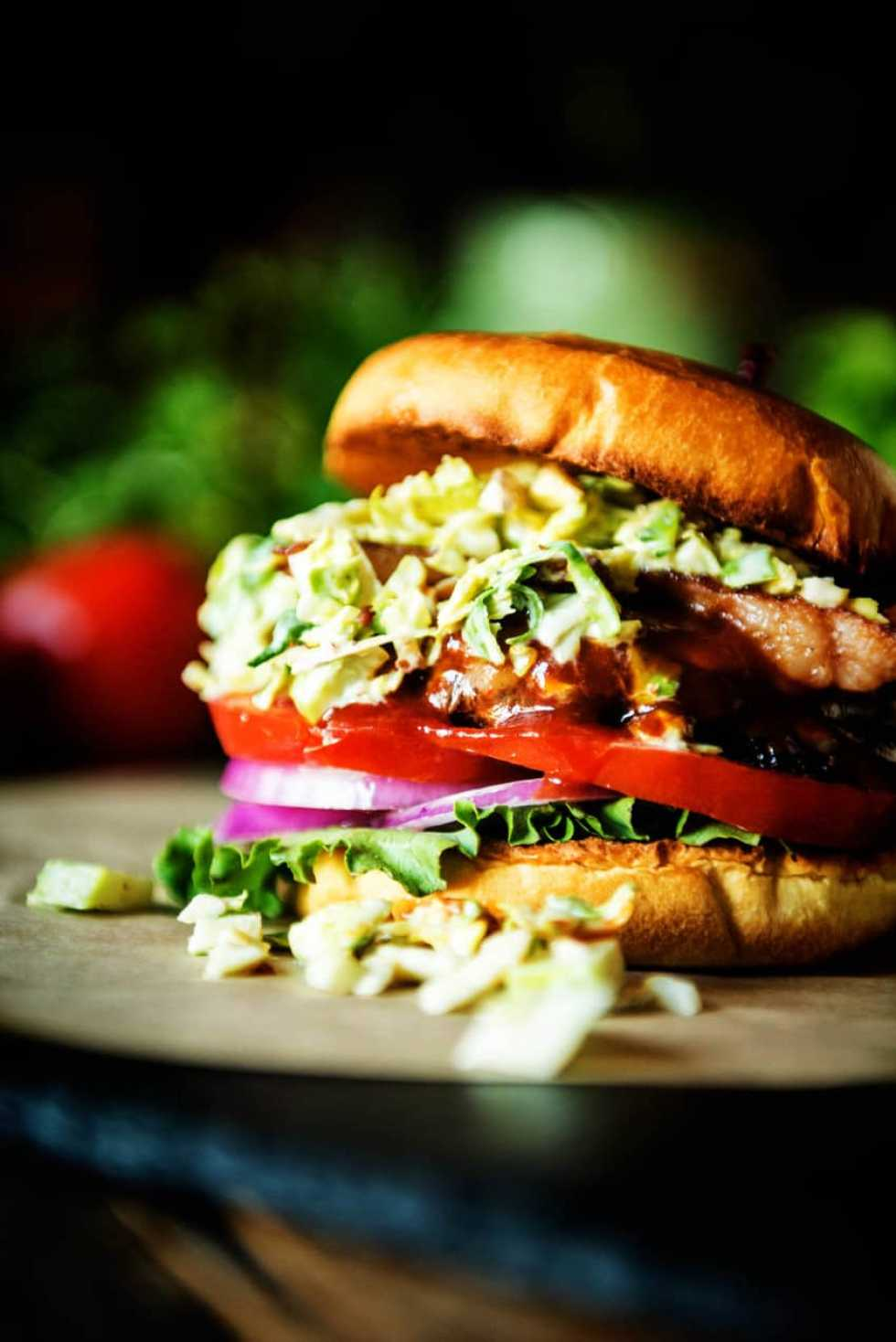 Bison Burger with Maple Brussels Sprouts Slaw {Girl Carnivore}