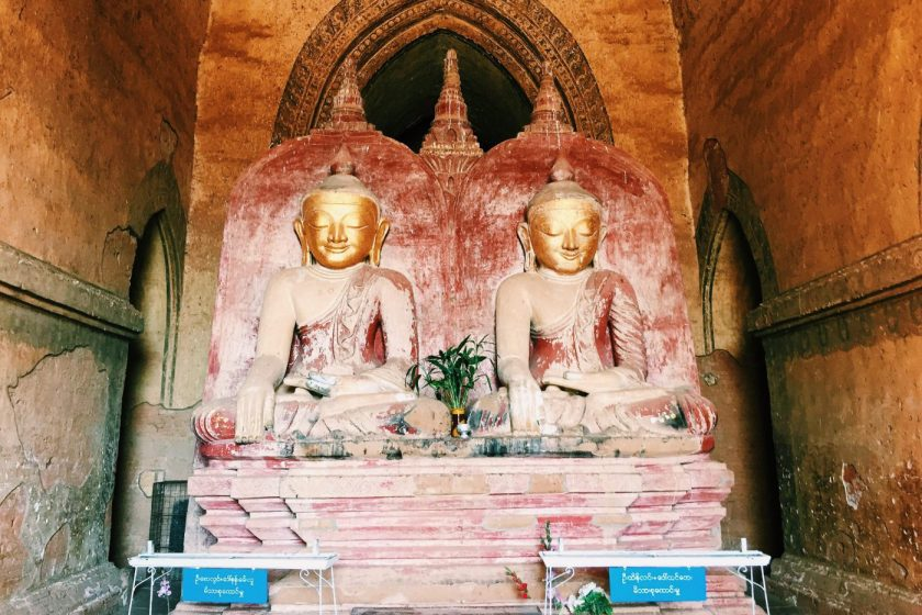 Two Buddhas in one of the temples in Bagan