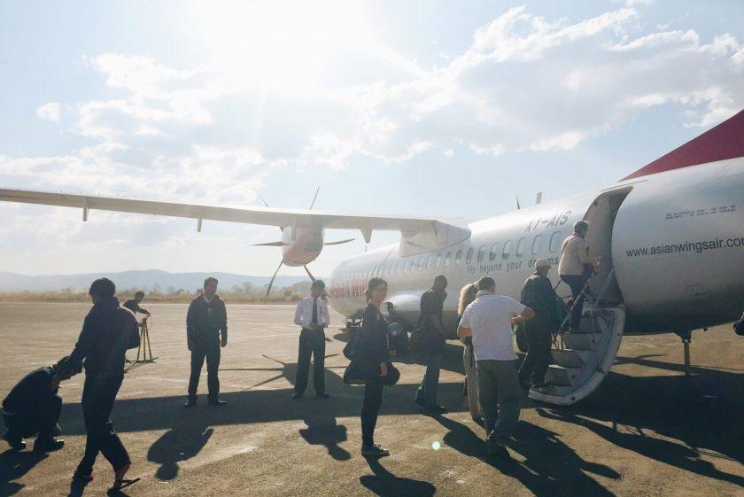 Boarding a small ATR72 plane