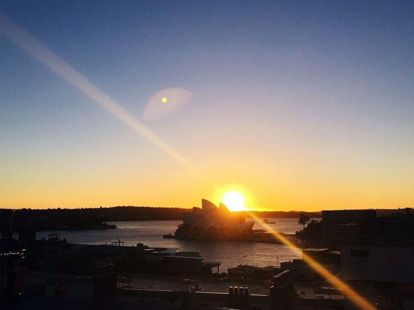 Sunrise in Sydney from my window at the YHA