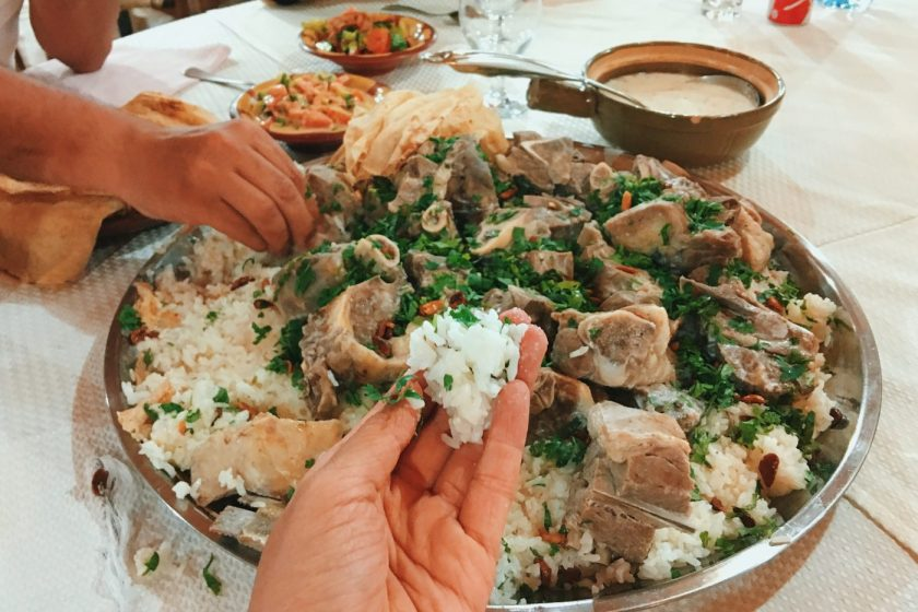 Mansaf is to be eaten communally with hands