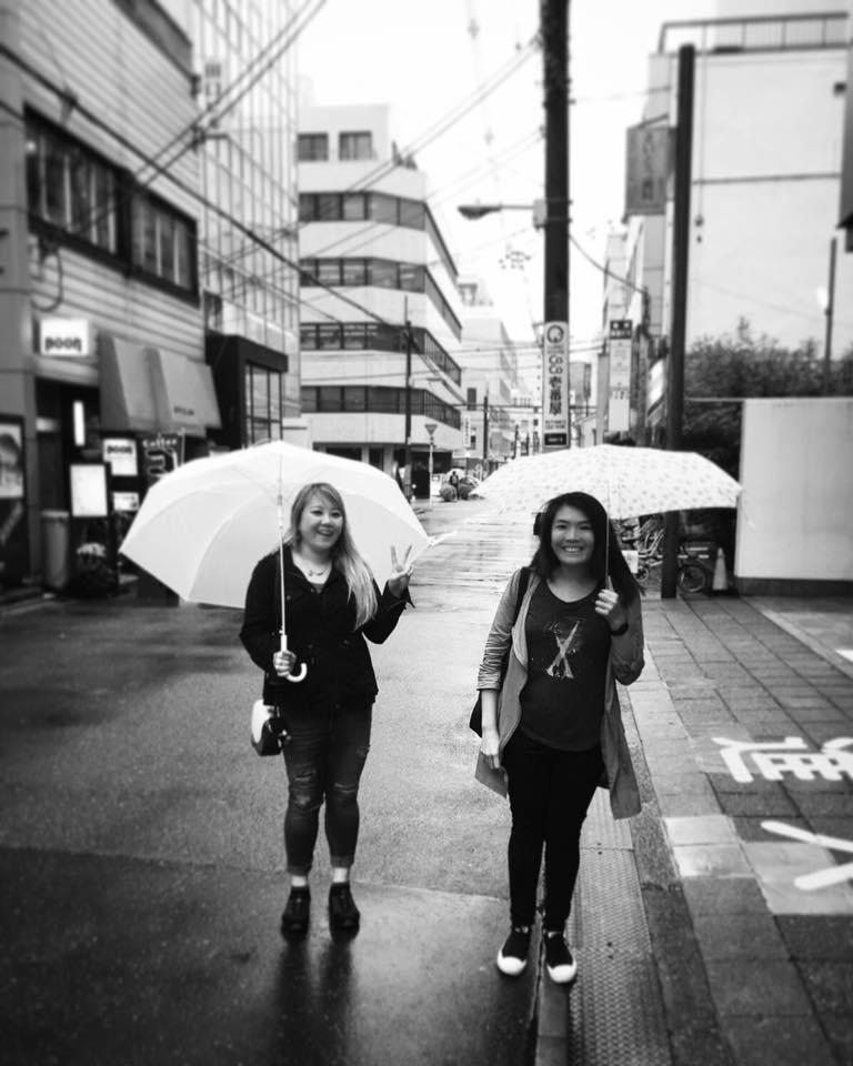 Kat and I, reunited in rainy Osaka