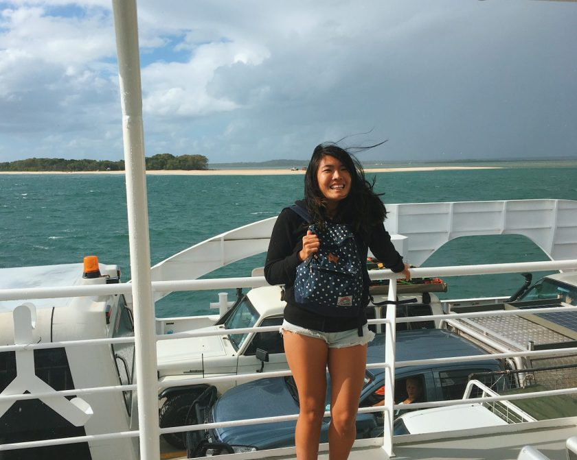 Wind was very strong on the ferry to Fraser Island