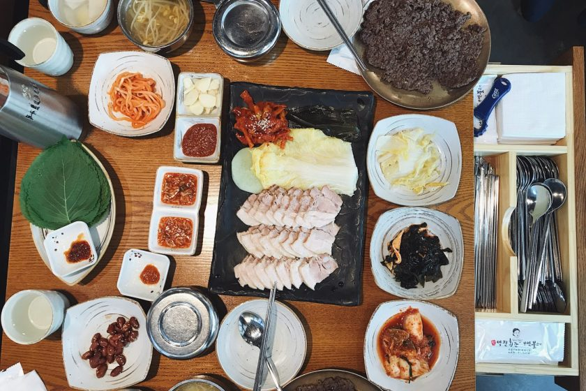 The spread at Yukjeon Hoekwan with Bossam in the middle. I love how the cutlery is hidden in a drawer in Korean restaurants!