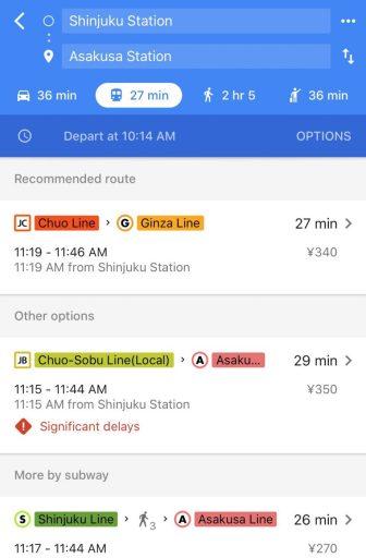 Example Tokyo Train Route on Google Maps - Shinjuku to Asakusa