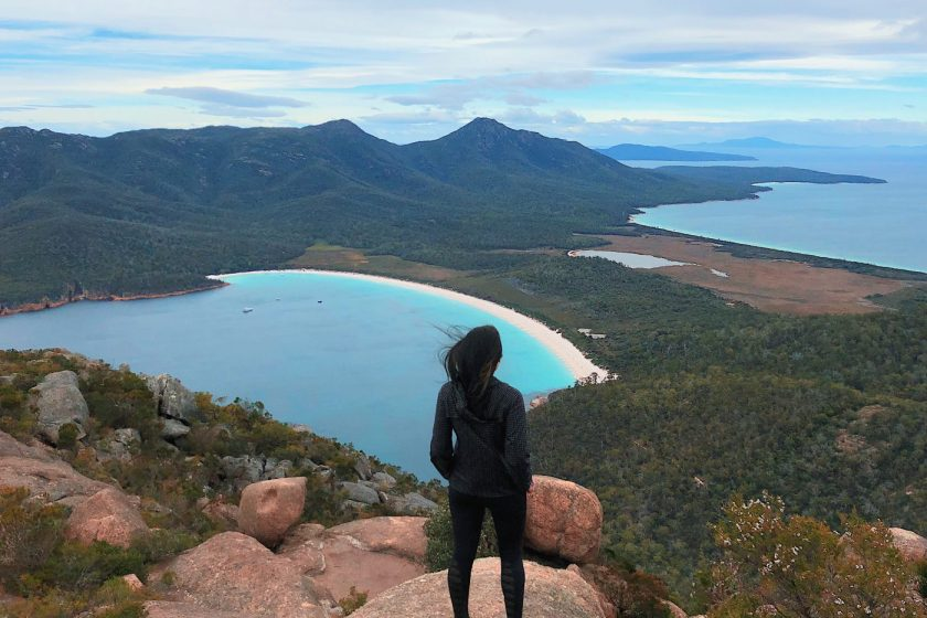 At the top of Mount Amos, Freycinet National Park