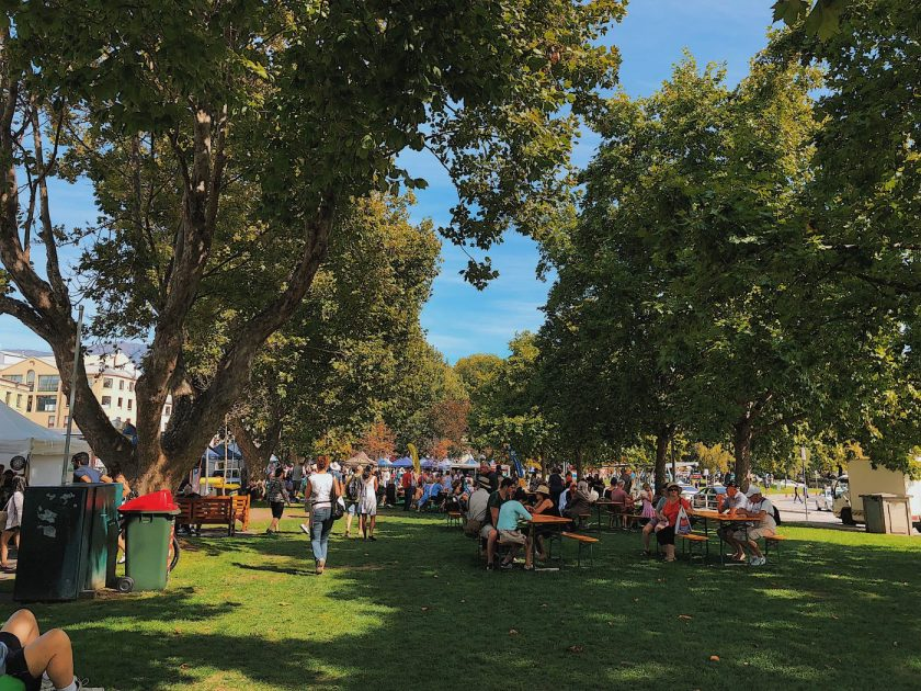 Picnic area behind the market