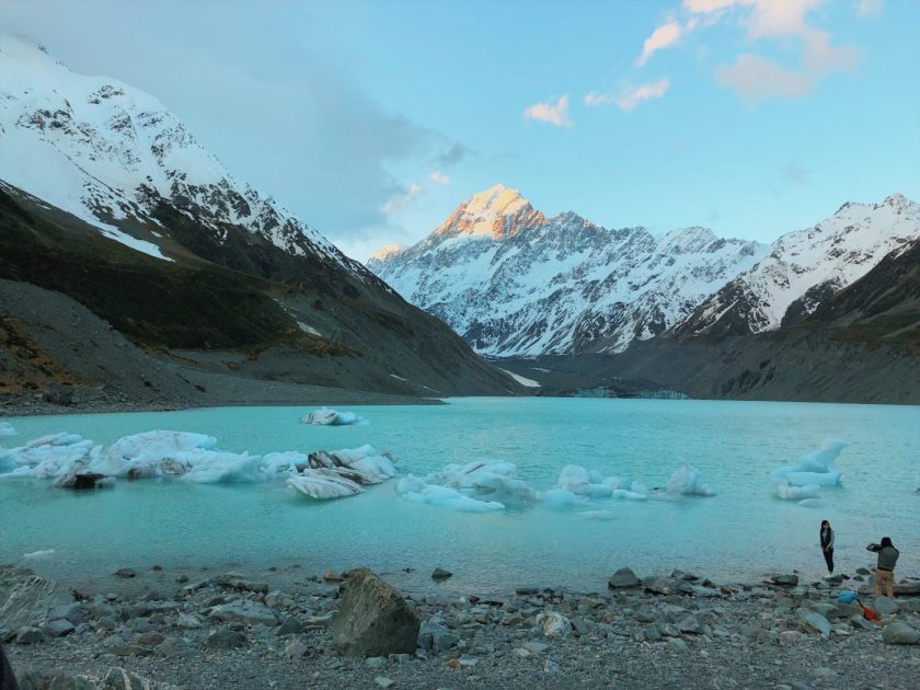 Hooker Lake at the end of the Hooker Valley Track