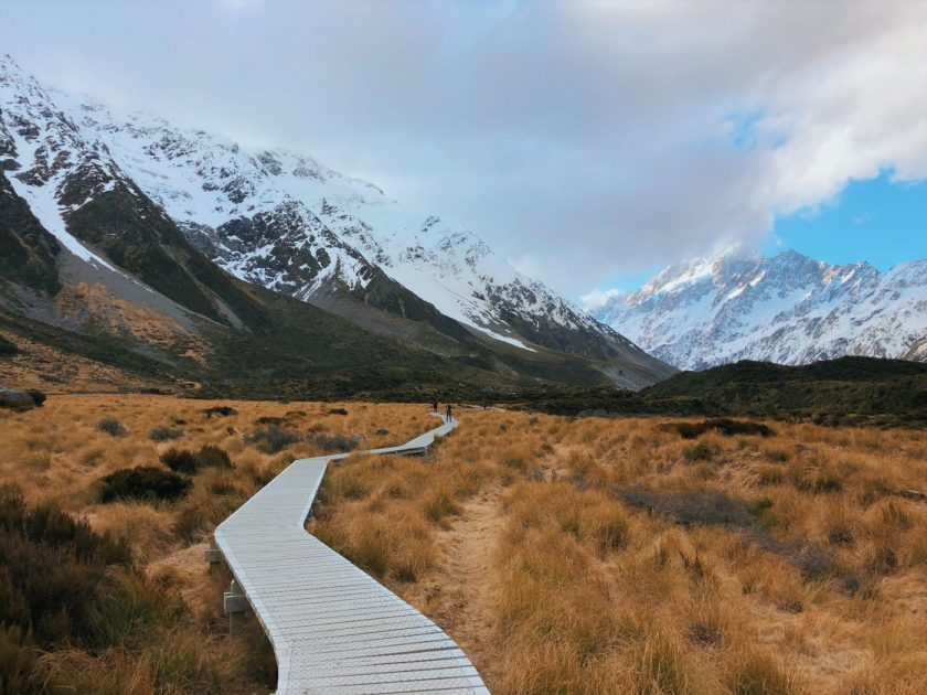 Wooden Board walk at Hooker Valley Track