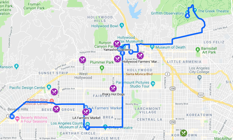 Los Angeles Travel Map - Hollywood