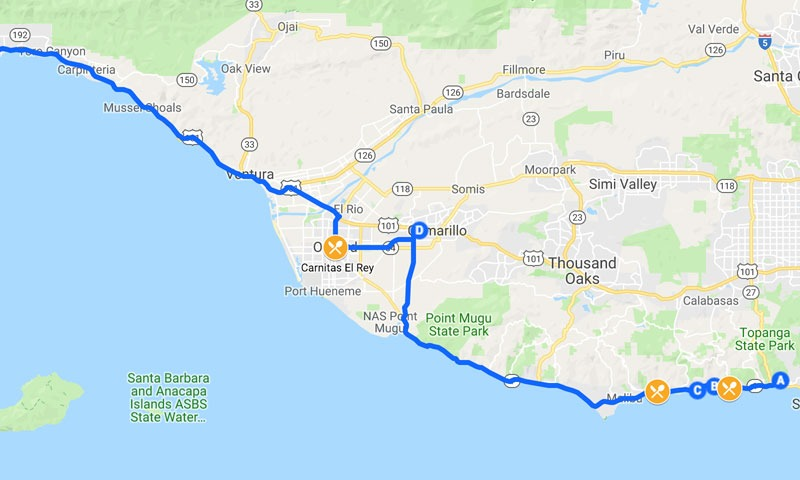 Los Angeles Travel Map - PCH