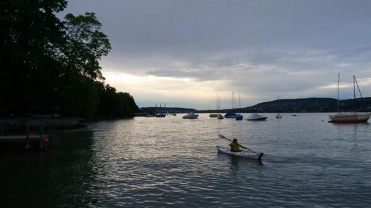 Kayaking in the Zurichsee after work.