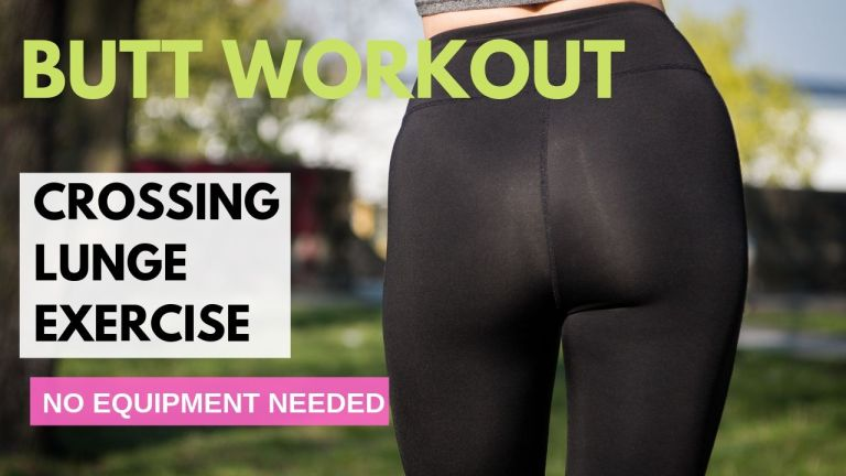 girl in yoga pants promoting crossing lunge exercise