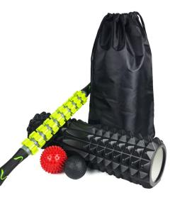 Yoga Column with Massage Stick Set. Includes Foam Shaft Fascia Ball Massage and Roller Yoga Kits Fitness Accessories Yoga Massage Set