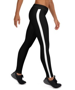 Black Leggings with white stripe on right leg