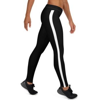 Black Leggings with white stripe on right leg