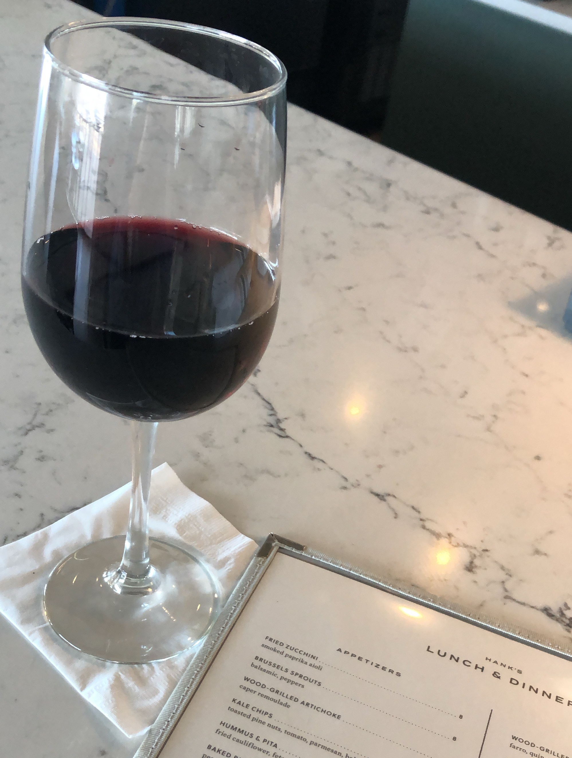 Red wine from Hank's in Austin