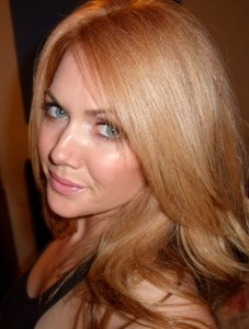 L'Oreal Excellence Reddish Blonde right after coloring, different lighting.
