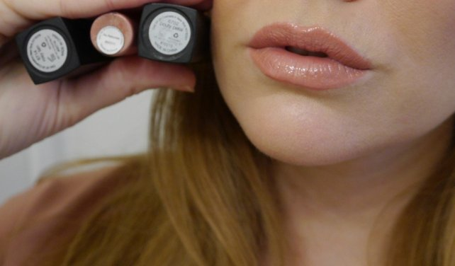 E.L.F. Mineral lipstick and lip gloss. Pouty Petal layered over Rosy Tan (1 swipe each). Topped off with Au Naturale.