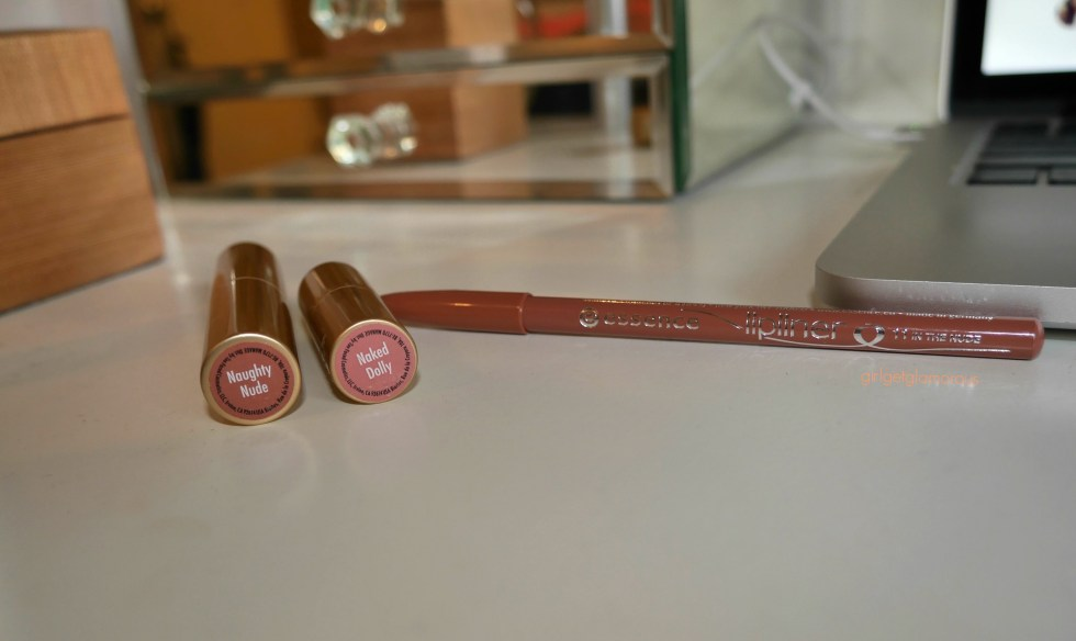 too faced la creme lipstick and essence lip liner