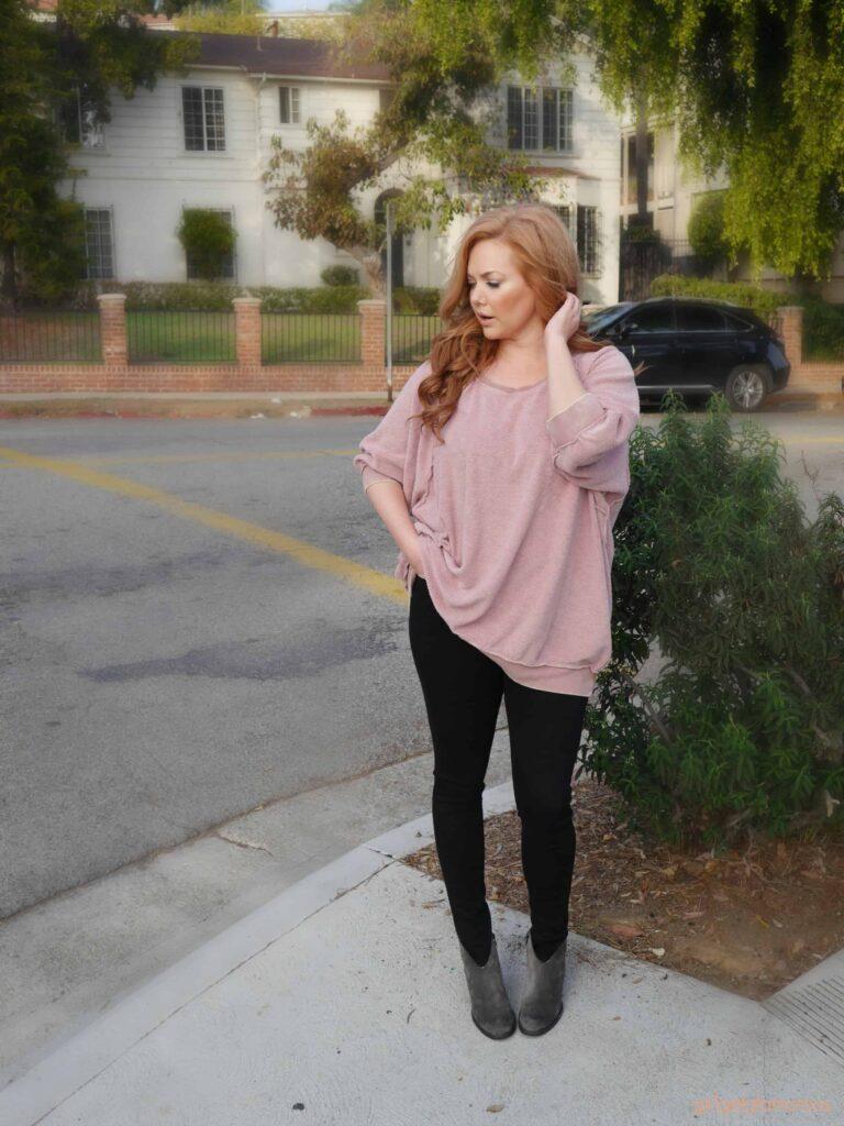 pink free people my pullover sweatshirt