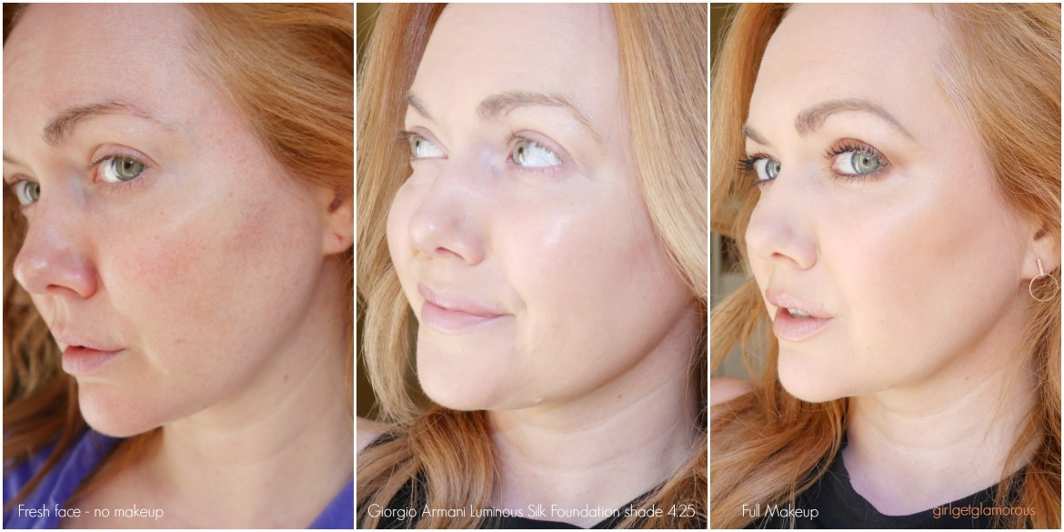 Giorgio Armani Luminous Silk Foundation Best for Dry Mature SKin shade 4.25 swatch swatches review