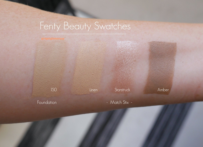 fenty beauty swatches foundation 150 fair match stix contour amber concealer linen highlighter highloght starstruck review photos
