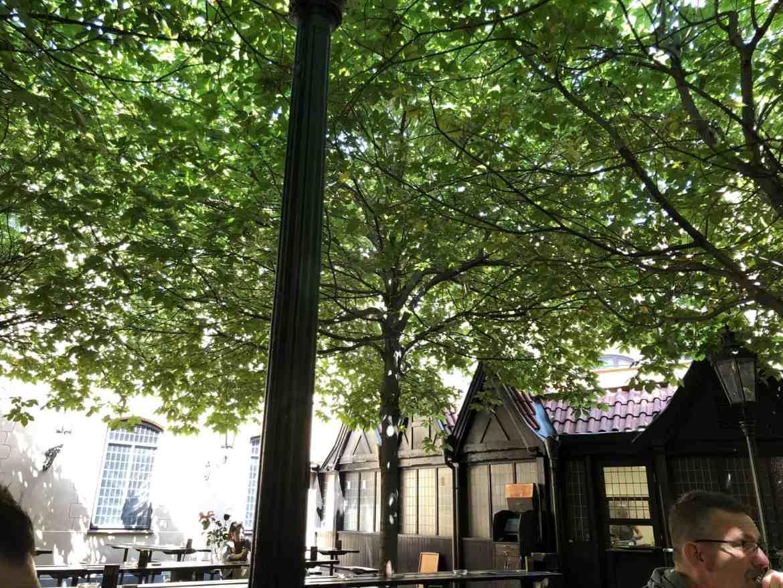 outdoor seating at ufleku prague's oldest restaurant