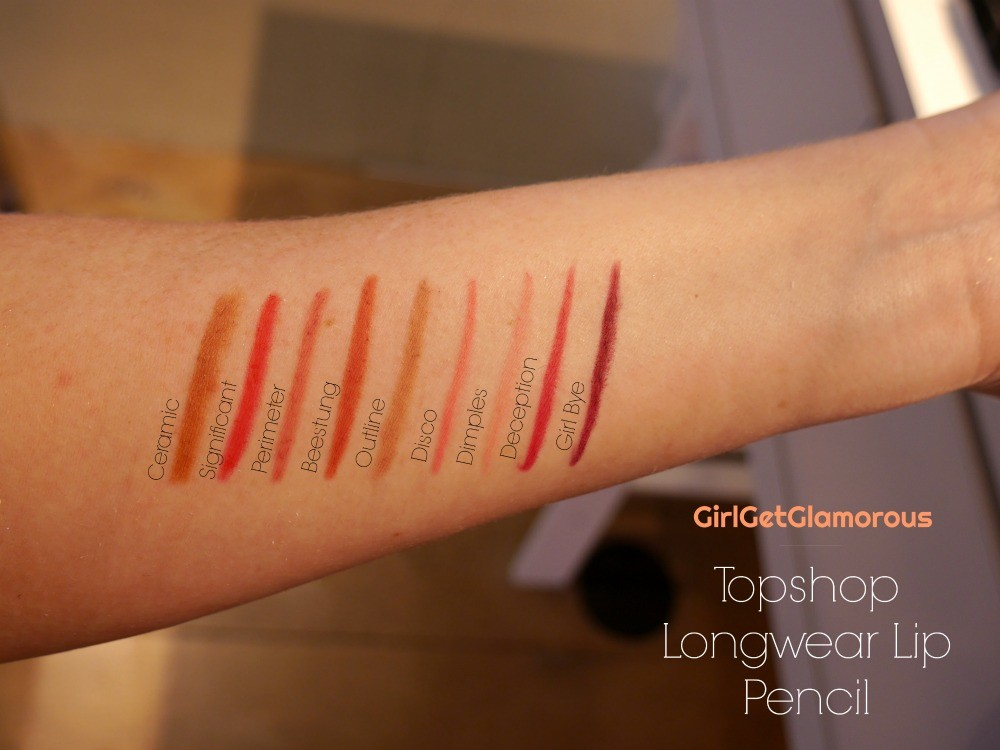 topshop longwear lip pencil liner swatches