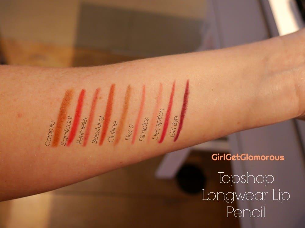 topshop longwear lip pencil liner swatches