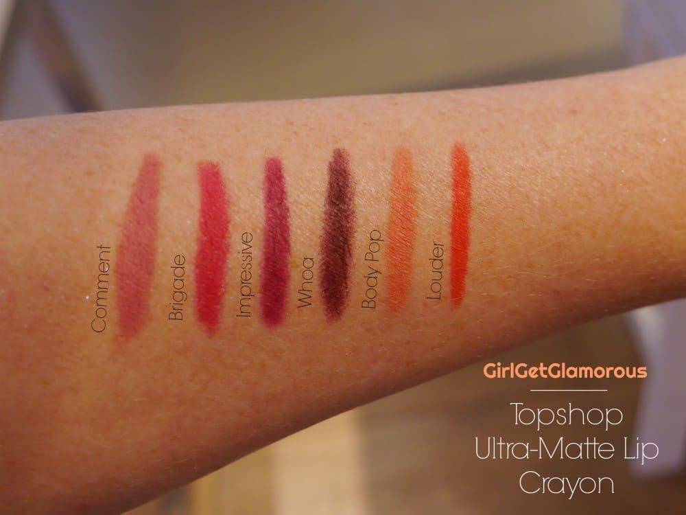 topshop ultra matte lip crayon lipsticks swatches shades