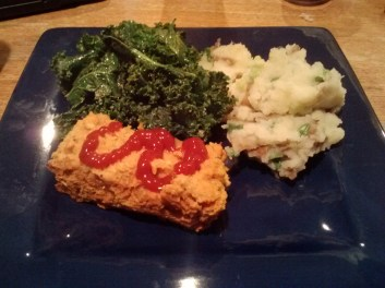Lentil loaf, lemony kale and champ from Happy Herbivore Abroad
