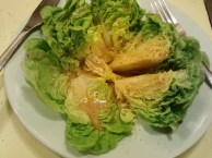 Some baby heads of greens I cut into a wedge salad and drizzled with homemade dressing.