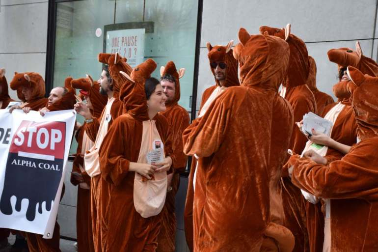 Silent Sunday - Paris protest of Alpha Coal Projet in Australie