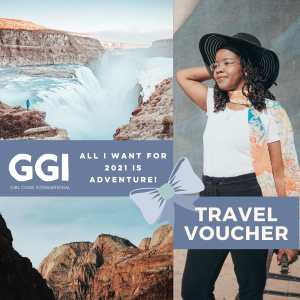 female group travel to iceland travel voucher, women with a suitcase looks at an image of iceland