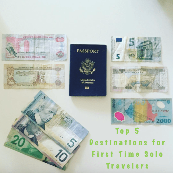 foreign money and passport destinations for solo travelers