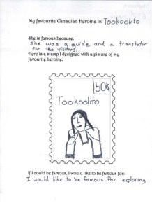 Activity Sheet showing Stamp for Tookoolito