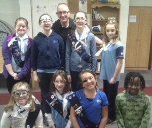 Dr Clarke with Girl Guides