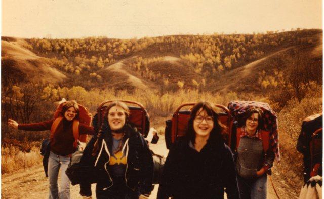 Girls hiking at camp