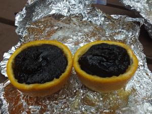 Orange campfire cake