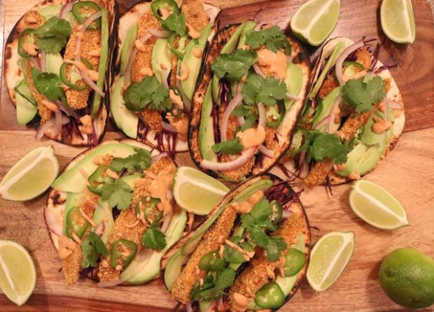 Oven Baked Fish Tacos with Smoky Chipotle Sauce - girlheartfood.com