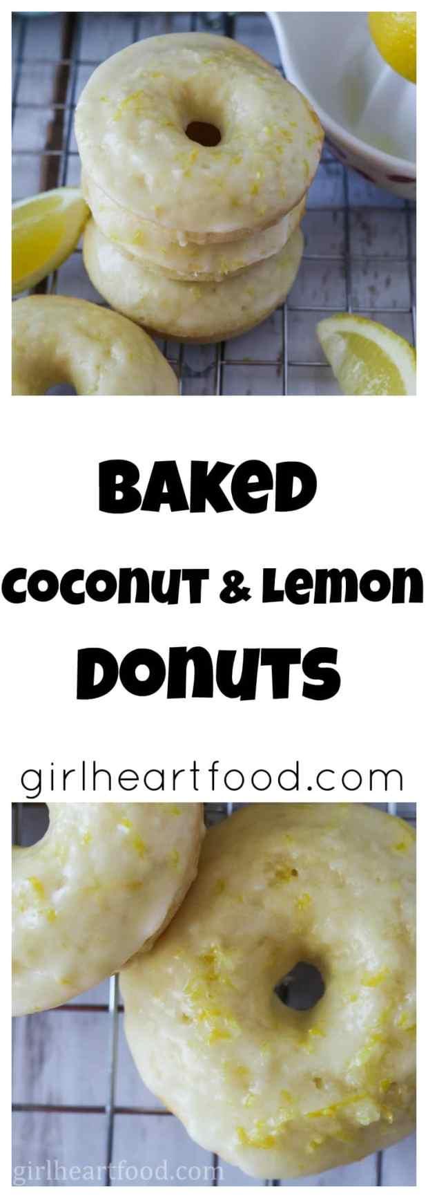 Baked Coconut and Lemon Donuts - girlheartfood.com